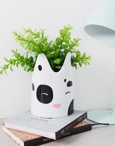 Белый керамический цветочный горшок с кошачьей мордочкой Monki
