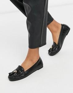 Черные лоферы с крокодиловым рисунком и кисточками Truffle Collection-Черный