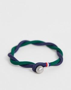 Сине-зеленый плетеный браслет Tommy Hilfiger-Темно-синий