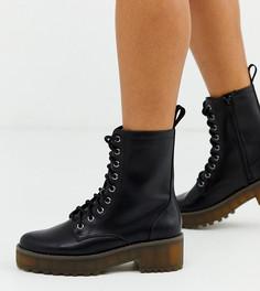 Черные ботинки из искусственной кожи на шнуровке Monki-Черный