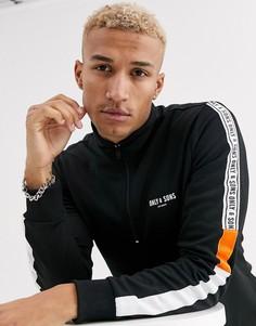 Черная олимпийка с короткой молнией и фирменной лентой на рукавах Only & Sons-Черный