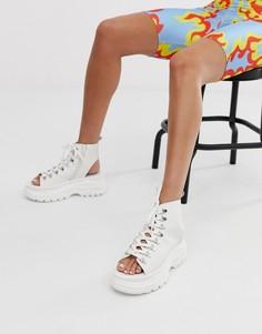 Массивные кожаные сандалии белого цвета Bronx-Белый