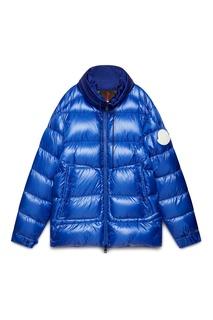 Синий пуховик с карманами Moncler