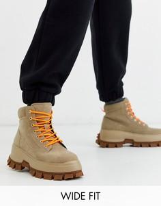 Светло-бежевые ботинки для широкой стопы из искусственного нубука на массивной подошве ASOS DESIGN-Светло-бежевый