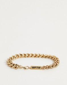 Золотистый массивный браслет WFTW-Золотой