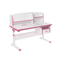 Регулируемая парта FunDesk Creare с выдвижным ящиком и надстройкой розовый, белый,