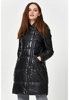 Утепленное кожаное пальто La Reine Blanche