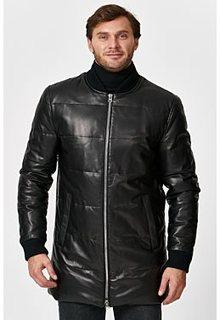 Утепленная кожаная куртка с отделкой трикотажем Al Franco
