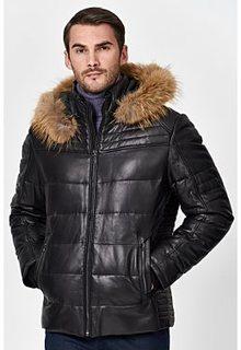 Утепленная кожаная куртка с отделкой мехом енота Jorg Weber