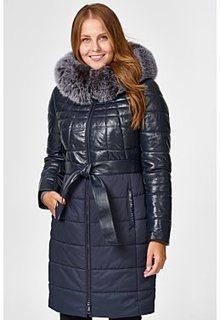 Комбинированное утепленное пальто с отделкой мехом песца La Reine Blanche