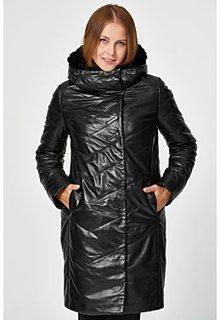 Утепленное кожаное пальто Снежная Королева