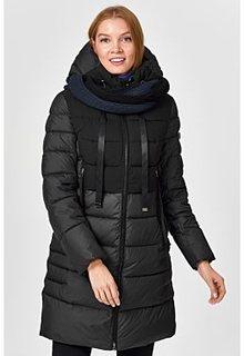 Утепленное стеганое пальто с вязаным шарфом Neohit