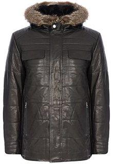 Кожаная куртка с подкладкой из овчины и отделкой мехом енота Jorg Weber