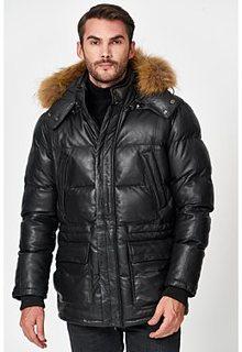 Кожаная куртка с отделкой мехом енота Jorg Weber