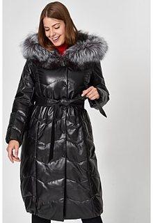 Утепленное кожаное пальто с отделкой чернобуркой Vericci