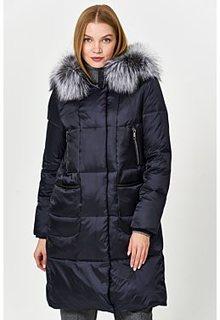 Стеганое пальто с отделкой мехом лисы Laura Bianca