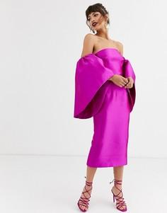 Платье миди с эффектными рукавами ASOS EDITION-Фиолетовый
