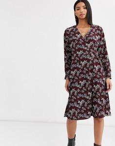 Чайное платье с цветочным принтом Vila-Мульти