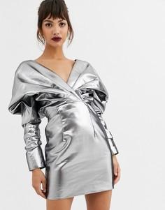 Коктейльное платье с эффектом металлик ASOS EDITION-Серебряный
