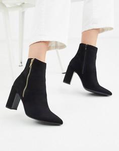 Черные полусапожки на блочном каблуке с заостренным носком New Look-Черный