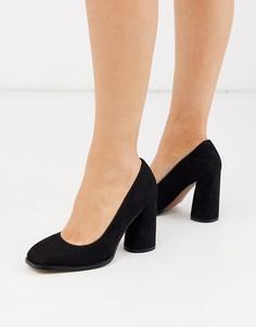 Черные туфли-лодочки на блочном каблуке с квадратным носком ASOS DESIGN-Черный
