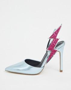 """Голубые туфли на каблуке с отделкой \""""молния\"""" ASOS DESIGN-Мульти"""
