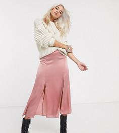 Атласная розовая юбка миди Topshop Petite-Розовый