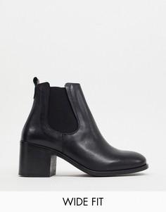 Кожаные ботинки челси на каблуке для широкой стопы Depp-Черный