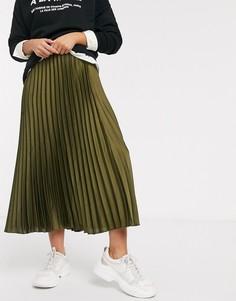 Атласная плиссированная юбка миди цвета хаки New Look-Зеленый