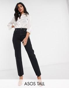 Черные расклешенные джинсы с завышенной талией ASOS DESIGN Tall-Черный
