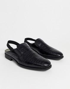 Кожаные туфли с ремешком через пятку Bolongaro Trevor-Черный