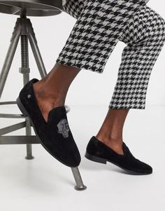 Черные замшевые лоферы с отделкой в виде черепа Twisted Tailor-Черный