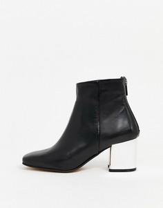 Черные кожаные ботинки на блочном каблуке ALDO-Черный