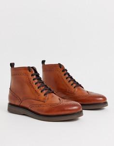 Кожаные броги H by Hudson Calverston-Светло-коричневый