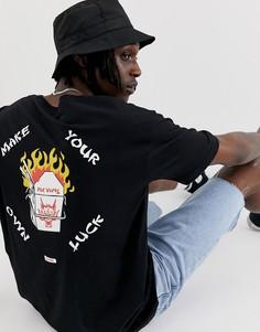 Черная футболка с принтом на груди и спине Globe Fortune-Черный