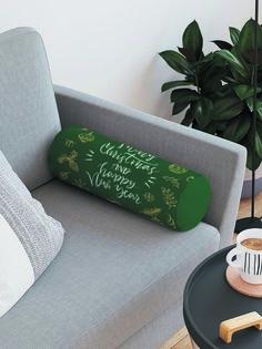 JoyArty Декоративная подушка-валик «Счастливых праздников» на молнии, 45 см, диаметр 16 см