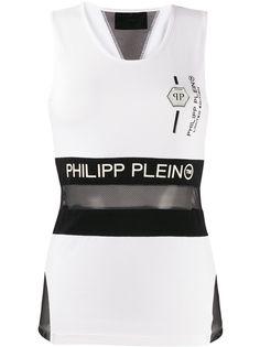 Philipp Plein топ с прозрачной вставкой и логотипом