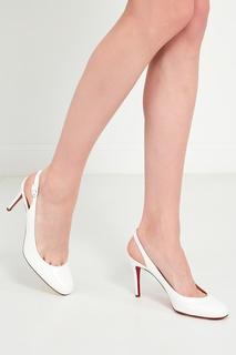Белые туфли Miss Gena Sling 85 Christian Louboutin