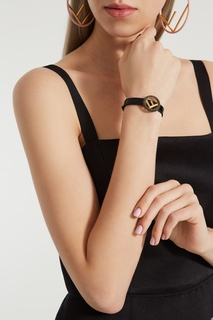Черный кожаный браслет F is Fendi
