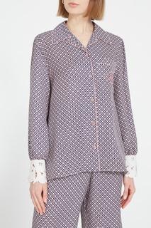 Шелковая рубашка с кружевными манжетами Fendi