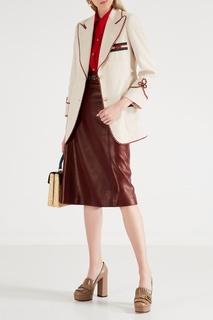 Кожаные туфли с бахромой и логотипом GG Gucci