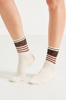 Белые носки с контрастной отделкой Fendi