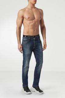 Синие зауженные джинсы Philipp Plein
