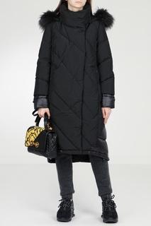 Черное стеганое пальто Diego M