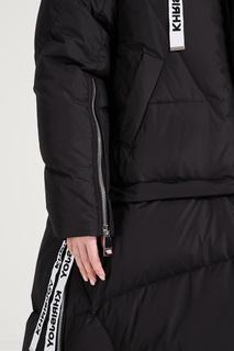 Черное стеганое пальто с капюшоном Khrisjoy