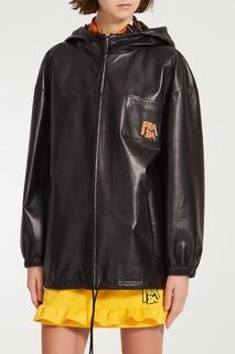 Кожаная куртка с капюшоном Prada