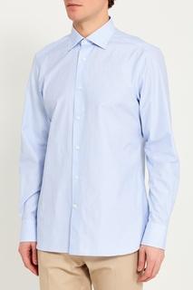 Голубая сорочка из хлопка в клетку Ermenegildo Zegna