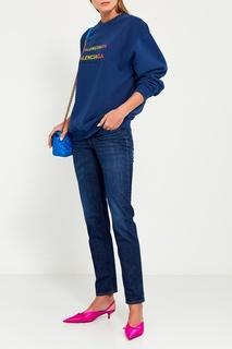 Синяя сумка с логотипами Chain Round S Balenciaga
