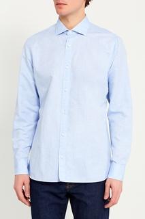 Голубая сорочка из хлопка и льна Z Zegna