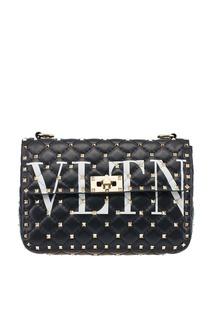 Черная сумка с логотипом и заклепками Rockstud Spike.It Valentino Garavani